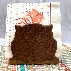 Vintage MCM Wooden Owl Napkin holder wood boho